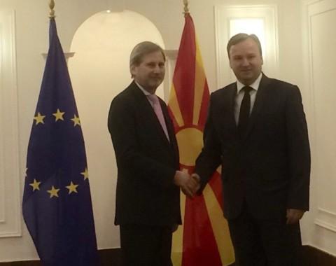 Johanes Han e filloi vizitën punuese në Shkup me kryeministrin Dimitriev